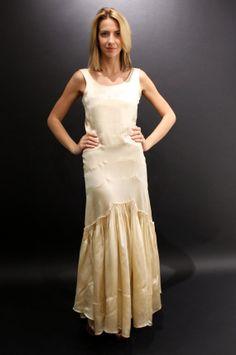 1920's Romantic Bridal Creme Satin Dress with Ruffled Skirt Sz. S/M