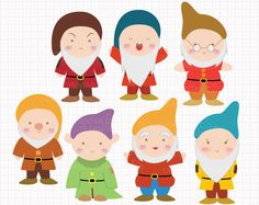 Disney Inspired Seven Dwarfs from Snow White Digital CLIP ARTS personal and commercial use for invitations, cupcake toppers, party supplies by Digicute on Etsy Drawing Software, Snow White Birthday, Seven Dwarfs, Disney Scrapbook, Scrapbooking, Princesas Disney, Art Plastique, Disney Inspired, Felt Crafts