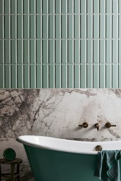Planning a bathroom renovation? Check out the latest trends in tiles for your project. Textured finishes, patterned designs and large format tiles, the collections in this article focus on the key tile trends for Home Interior, Bathroom Interior, Modern Bathroom, Small Bathroom, Dream Bathrooms, Textured Tiles Bathroom, Green Bathroom Tiles, Ceramic Tile Bathrooms, Dyi Bathroom