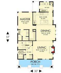 Bungalow With Open Floor Plan & Loft - 69541AM | Architectural Designs - House Plans
