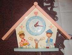 VINTAGE IRMI CHILDS NURSERY WALL CLOCK WOODEN JACK & JILL HANSEL & GRETAL WORKS!
