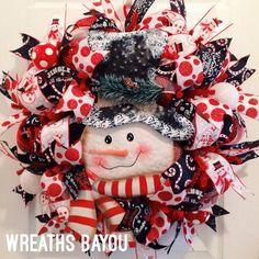 Christmas Wreath Snowman Wreath Christmas by wreathsbayou on Etsy