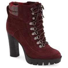 """NineWest'Abrial' Lace-UpBootie, 4"""" heel ($100) ❤ liked on Polyvore featuring shoes, boots, ankle booties, ankle boots, garnet suede, platform ankle boots, high heel booties, nine west bootie e lace up platform bootie"""