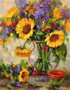Artists Of Texas Contemporary Paintings and Art - Sunshine Sunflowers and Dallas Arboretum Blooms by Texas Flower Artist Nancy Medina