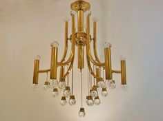 Stilnovo vintage brass chandelier with crystal glass hanging balls, 1970`s ca, Italian @ www.roomscape.net