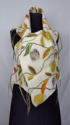 Big long very warm winter scarf with leaves, handmade and unique nuno felt silk wool shawl, gift idea for Thanksgiving day Nuno Felt Scarf, Handmade Scarves, Silk Wool, Nuno Felting, Wool Felt, Shawl, Om, Leaves, Winter