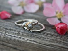 Rough Diamond 14k Gold Sterling Silver Ring by IgniteMetals