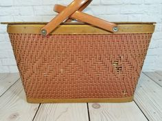 Vintage Picnic Basket, Picnic Spot, Vintage Farmhouse Decor, Vintage Suitcases, Decorative Storage, Towel Holder, Spin, Fill, Goodies