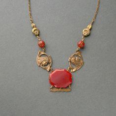 Egyptian Revival Necklace . Late Art Nouveau Early Art Deco . Carnelian Glass . 1920s .. $160.00, via Etsy.
