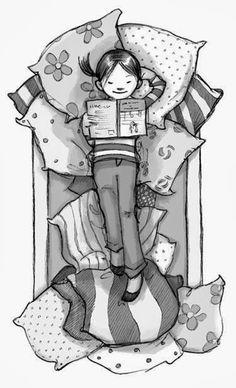 Uma pequena leitora bem confortável
