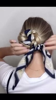 Hair Scarf Styles, Hair Up Styles, Medium Hair Styles, Cute Hairstyles, Braided Hairstyles, Updo Hairstyle, Hairstyles With Ribbon, Short Vintage Hairstyles, Scarf Hairstyles Short