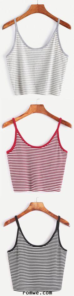 Striped Crop Cami Top