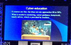 C. Pepe @ipadqueen2012   Importance of cyber education as an aid but not a replacement - balance between einstruction and mentoring #ISTE2016