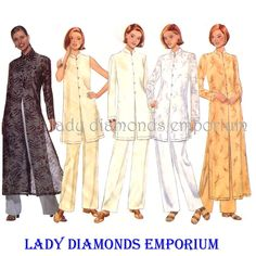 755 Butterick 5944 Womens Tunic Top Duster Pants size 14 16 18 Bust 36 38 40 Oriental Look Fast & Easy Average to Plus Size Pattern Uncut by ladydiamond46 on Etsy