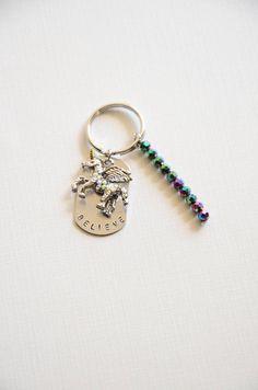hand stamped unicorn charm keychain/ personalized keychain/