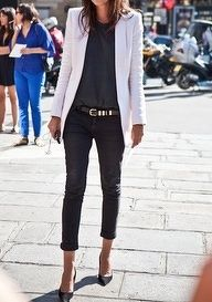 black + white blazer, love it!