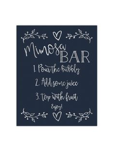 Our foil printed Mimosa Bar sign is perfect to place at a mimosa bar you are having for a wedding, party, or bridal shower. It's printed with gold, rose gold or silver foil on your choice of premium thick cardstock paper. Sizes: or Paper Col Brunch Bar, Mimosa Bar Sign, Bubbly Bar, My Bridal Shower, Brunch Wedding, Party Wedding, Dream Wedding, Baby Shower Brunch, Bar Signs