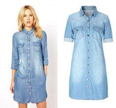 Women's Jeans Shirts Sleeve blusas femininas 2016 Fashion casual Clothing Elegant tops Denim Shirts For Woman Plus Size N-76F