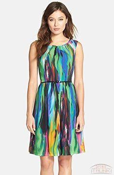 Ellen Tracy Women's Multi Printed Chiffon Sheath Dress