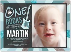 One Rocks: Peppermint - Birthday Party Invitations in Peppermint   Hello Little One