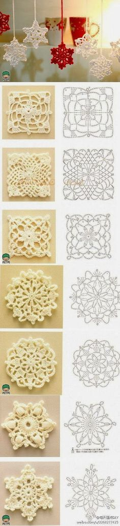 DIY crochet snowflakes–instructions in Japanese but an experienced crocheter could suss out from charts here – Knitting and crocheting Crochet Diy, Crochet Motifs, Crochet Chart, Crochet Squares, Crochet Doilies, Crochet Flowers, Crochet Stitches, Granny Squares, Crochet Woman