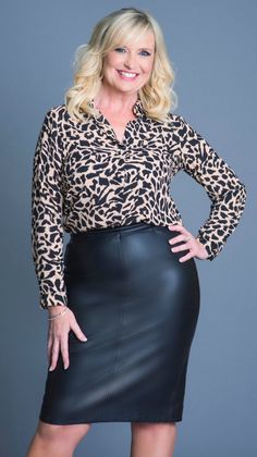 Carol Kirkwood Hot in leather skirt wear more leather for me . Older Women Fashion, Sexy Older Women, Sexy Women, Womens Fashion, Sexy Bluse, Carol Kirkwood, Beautiful Old Woman, Sexy Skirt, Dress With Boots