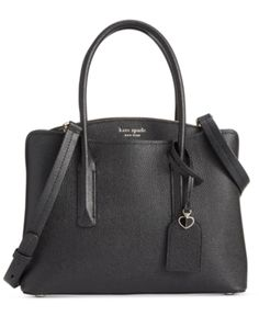 Kate Spade New York Margaux Medium Satchel. Enhanced with a large center zip compartment, the Margaux Medium Satchel from kate spade new york is crafted out of smooth pebbled leather and is finished with a removable strap for versatility. Kate Spade Satchel, Kate Spade Handbags, Kate Spade Purse, Prada Handbags, Handbags On Sale, Black Handbags, Luxury Handbags, Purses And Handbags, Designer Handbags