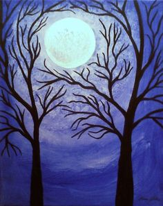 ACEO Blue Moon Giclee Limited Edition Tree by TheVenusCollection, $6.49