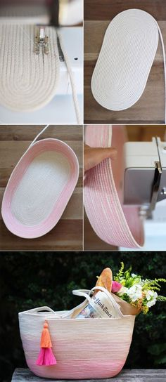 How to make a rope tote with clothesline, thread and a simple zig-zag stitch