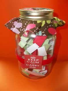 inspiration Jar with loving handwritten notes. Creative Gifts, Unique Gifts, Best Gifts, Creative Ideas, Diy Ideas, Party Ideas, Craft Ideas, Jar Gifts, Gift Jars