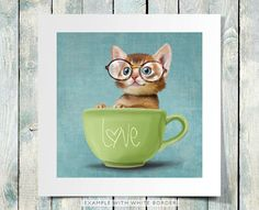 A funny small cat in a big cup on a rustic light blue background (poster 8x8) Illustration fine art giclée print on Etsy, $20.00