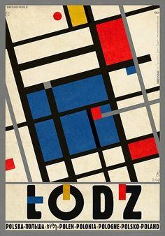 Lodz -Hommage a Katarzyna Kobro and Wladyslaw Strzeminski Check also other posters from PLAKAT-POLSKA series Original Polish poster designer: Ryszard Kaja year: 2013 Modern Graphic Design, Graphic Design Illustration, Illustration Art, Poster S, Poster Prints, Poster City, Bauhaus, Polish Posters, Mondrian
