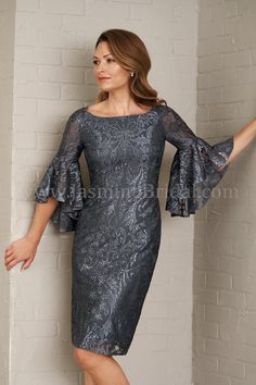 M200010 Knee Length Boat Neckline Embroidery Lace MOB Dress with Sleeves