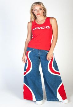 With bold contrast stitching and a wavy JNCO logo stitched below the rear pocket, every single element is designed to captivate, entranceäó_hypnotize. Jnco Jeans, Legs Open, Contrast, Pajama Pants, Red, Clothes, Collection, Design, Women