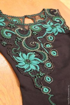 """Купить Платье """" Изумруд"""" - нарядное платье, вязаное платье, ирландское кружево, ирландское вязание"""
