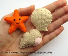 Bugs and Fishes by Lupin: All the Free Tutorials to Accompany Super-Cute Felt An. Bugs and Fishes by Lupin: All the Free Tutorials to Accompany Super-Cute Felt Animals Felt Crafts, Fabric Crafts, Sewing Crafts, Sewing Projects, Craft Projects, Diy Crafts, Felt Projects, Beach Crafts, Diy Tapis
