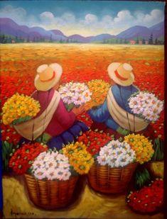Mexican Artists, Mexican Folk Art, Small Canvas Paintings, Canvas Art Prints, Art And Illustration, Peruvian Art, Mexico Art, Exotic Art, Spanish Art
