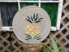 Pineapple Stepping Stone BIG 18 Inch Diameter Concrete and Stained Glass Mosaic Inlay for Yard Art or Garden Path Ornament Garden Decor by SteppingStoneYardArt on Etsy
