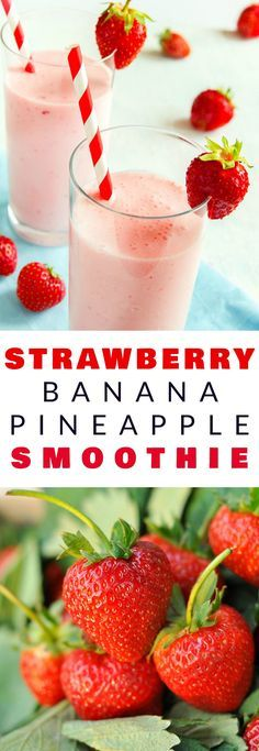 HEALTHY, TRIPLE FRUIT Strawberry, Banana, Pineapple Smoothie! This healthy recipe is easy to make - just throw all your ingredients in the blender! The milk (regular or almond) makes it creamy and delicious! I love this recipe for breakfast or a afternoon snack - it always energizes me!