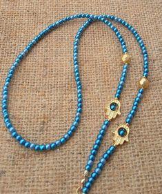 Hamsa Hand Eyeglass Chain Eyeglass Chain Holder Blue Bead Beaded Eyeglass Chain Glasses Chain Eyeglass Necklace Gift for Woman Beaded Jewelry, Beaded Bracelets, Beaded Necklace, Led Band, Eyeglass Holder, Stylish Rings, Jewelry Quotes, Jewelry Model, Hamsa Hand