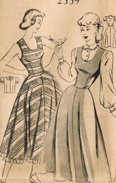 Cute as a button sleeveless 1940s dresses (Mail Order 2559). #vintage #sewing…
