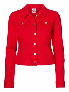 Bright red denim jacket from VERO MODA