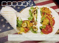 Gemüse Wrap mit Garnelen Burger, Wraps, Mexican, Ethnic Recipes, Food, Meat, Easy Meals, Koken, Meals