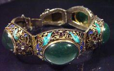 Silver enamel and jade bracelet