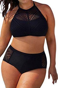 EVALESS Womens Plus Size Sheer Mesh Padded Push Up Bikini Set Swimsuit Swimwear