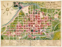 León, Guanajuato (siglo XVIII). Leon. Mapa y Plan Orisontal que manifiesta la Villa de León con sus Barrios, Pueblos calles y cuadras.