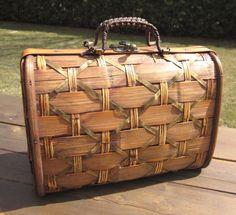 Vintage Woven Wooden Purse handbag with metal clasp by MagpieSue, $19.50