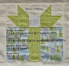 Sew Fresh Quilts: Boxes-N-Bows Christmas quilt block tutorial pattern Christmas Blocks, Christmas Sewing, Christmas Quilting, Christmas Present Quilt Block Pattern, Christmas Projects, Christmas Ideas, Christmas Squares, Christmas Things, Christmas Colors