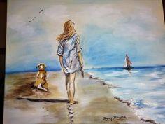 passeggiata in spiaggia (acrilico su tela 40x50)