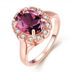 18-Karat Rose Gold Rose Quartz CZ Stone Ring Swarovski Elements